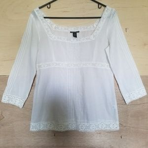Lucky Brand White Lace Blouse